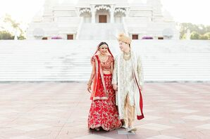 Bride and Groom with Traditional Hindu Wedding Fashion