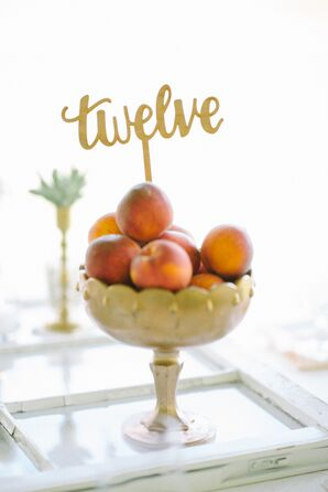 Fresh Peach Table Number Centerpieces