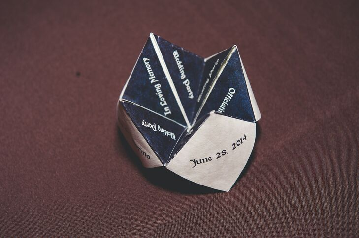 The bride and grooms personality was included in every aspect of the planning process. The programs were folded into little fortune tellers which opened up and where guests could see a different part of the event under each flap.