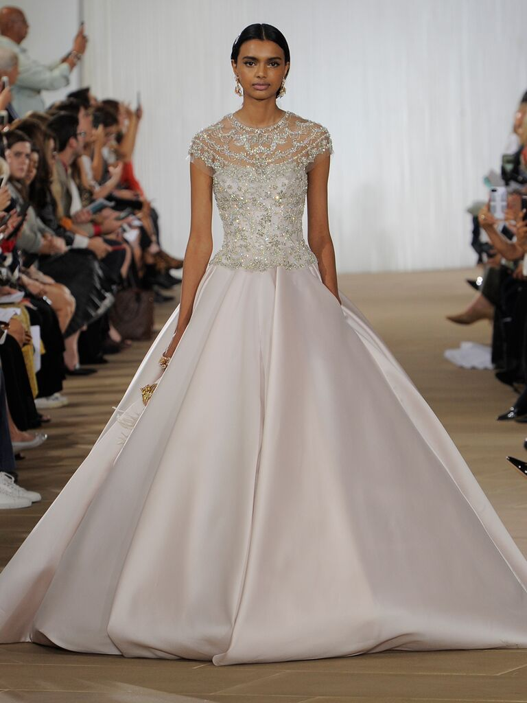 Ines Di Santo Fall 2019 wedding dress with a blush ball gown skirt and embellished fitted bodice