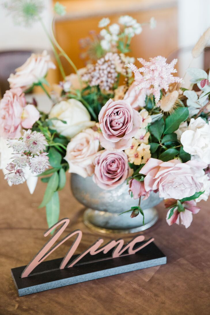 Rose Gold Calligraphy Table Number with Rose Centerpiece