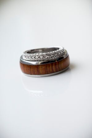 Wood and Silver Wedding Rings
