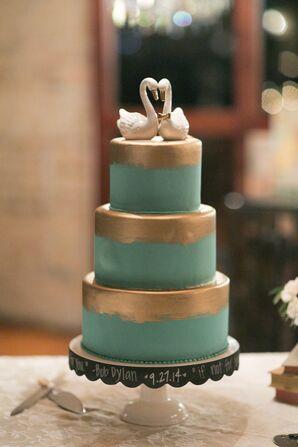 Gold-Brushed Turquoise Wedding Cake