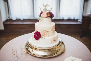 Hand-Painted Gold Floral Wedding Cake
