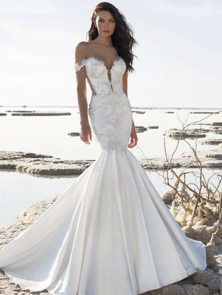 Pnina Tornai Spring 2020 Bridal Collection off-the-shoulder mermaid wedding dress with plunging neckline and full skirt