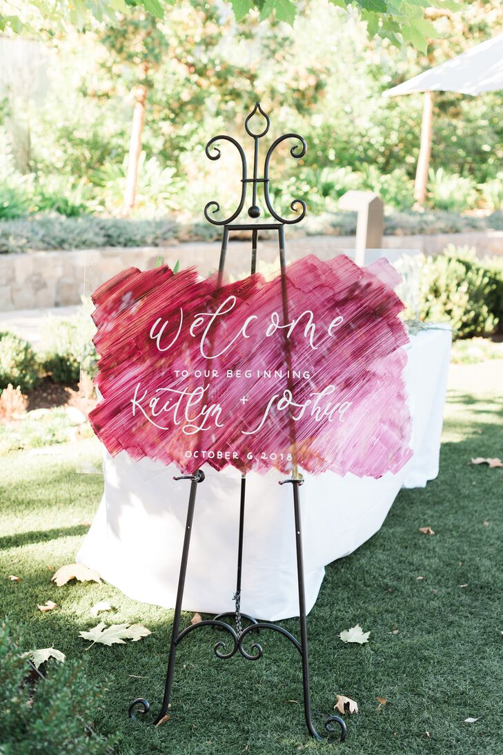 Romantic Sign with Pink Watercolor and Calligraphy