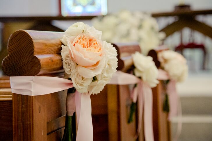 Peach Peony Church Pew Decor