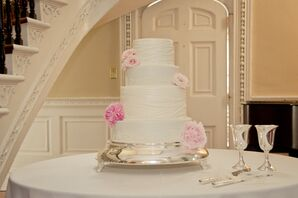 Four-Tiered Ivory Cake with Pink Peony Accents