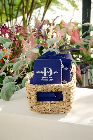 Personalized Navy Koozie Favors