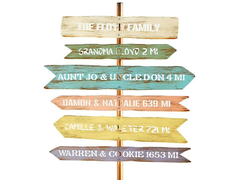 Personalized family member direction signpost 20th anniversary gift