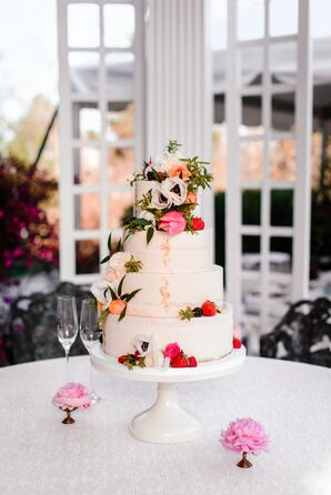 Gold Glitter, Fruit and Garden Floral Wedding Cake