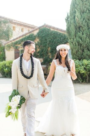 Couple Wearing Leis for Wedding at Villa Riposo in Morgan Hill, California