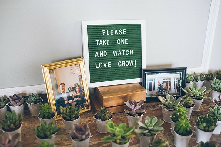 Modern Succulent Wedding Favors and Green Letterboard Sign