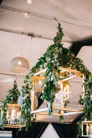 Eucalyptus-Draped Gold Lanterns
