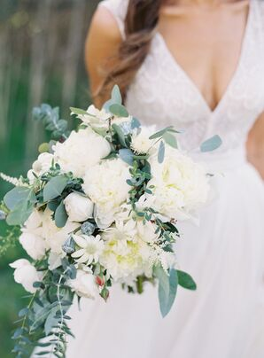 Bride's Bouquet of Eucalyptus and Peonies
