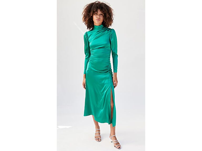Satin green midi dress with long puff sleeves and high neckline