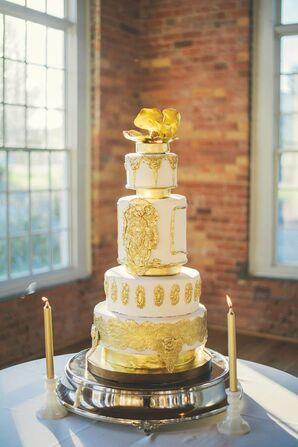 Gold Rococo-Inspired Wedding Cake