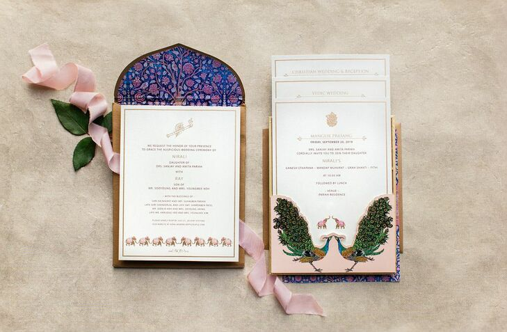 Colorful Hindu-Inspired Wedding Invitation with Typography