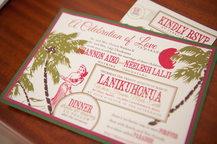 Hawaiian Wedding Invitations On Card Stock
