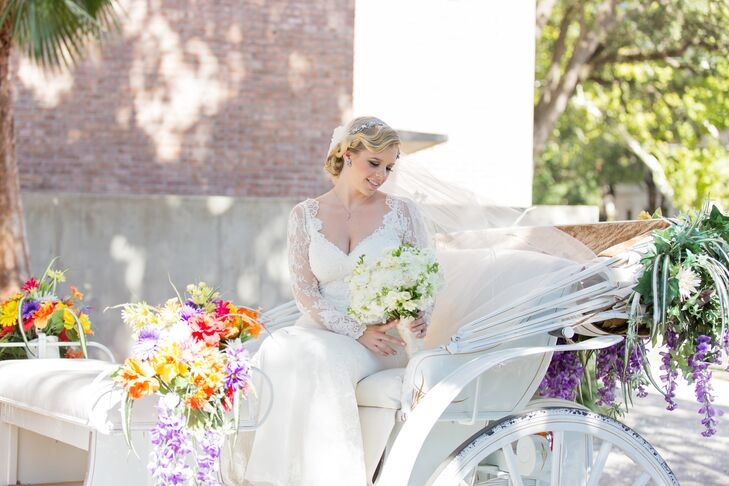White Carriage with Colorful Floral Accents