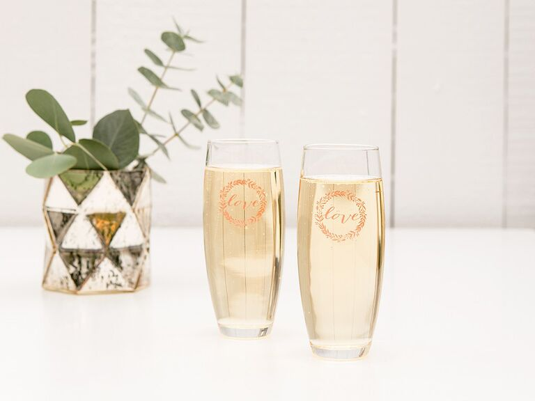 Personalized stemless flutes for a cute bridal shower favor