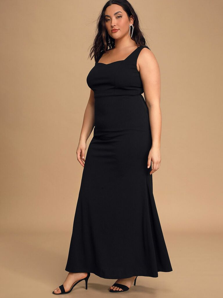 Black maxi bridesmaid dress with thick straps