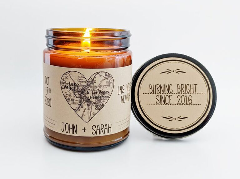 Custom map candle cute engagement gift