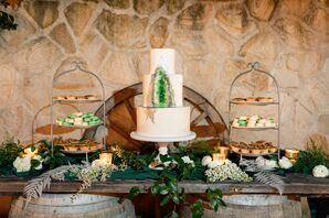 White Tiered Cake with Green Geode Design