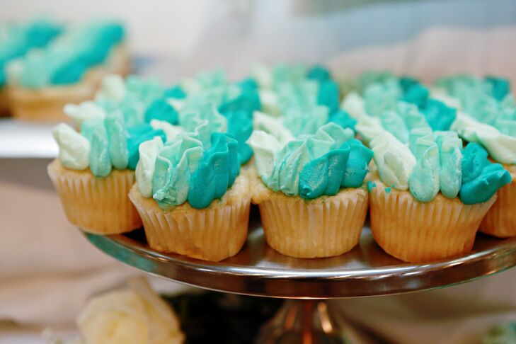 Turquoise-Frosted Wedding Cupcakes