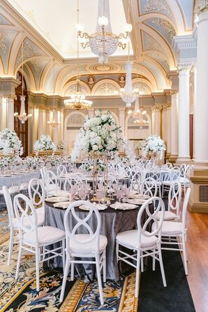 Gray-and-White Reception Decor at the Academy of Music in Philadelphia was Packed