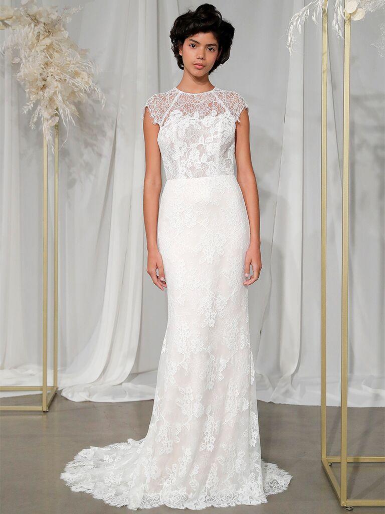 nouvelle amsale structured column chantilly lace gown