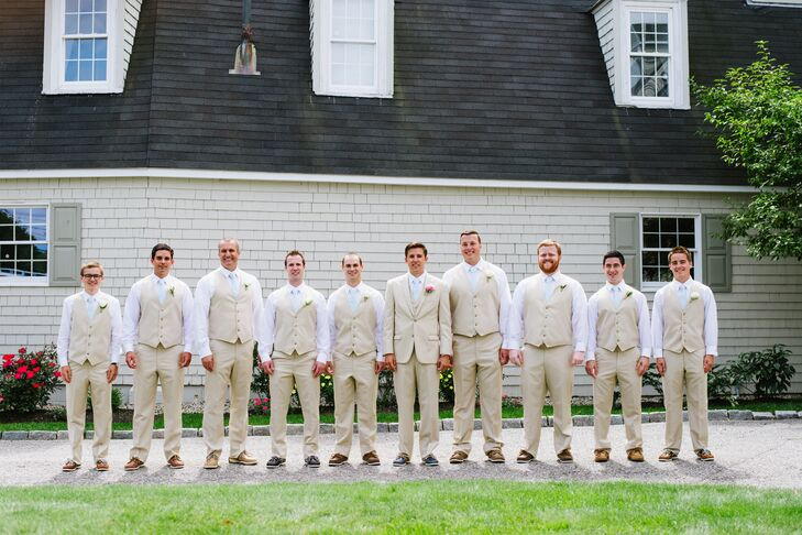 The groomsmen wore khaki suits from Men's Wearhouse with seersucker ties.