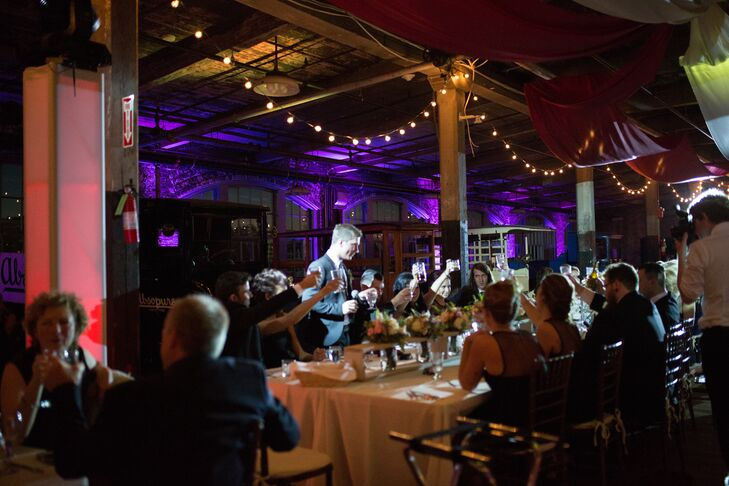 Strands of mini globe lights hung from the ceiling to give the venue an open, tent-like feel.