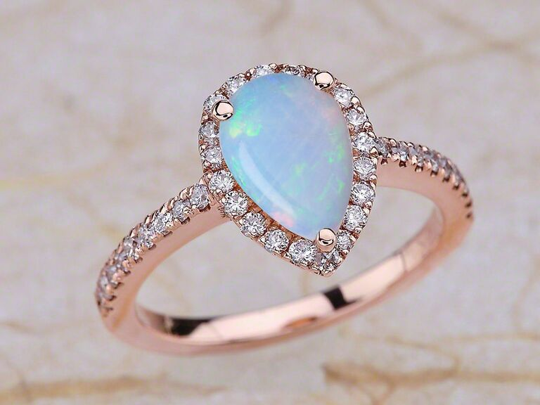 EJCollections opal engagement ring in 14K rose gold