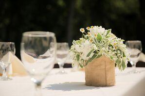 Burlap-Wrapped Vase Centerpieces
