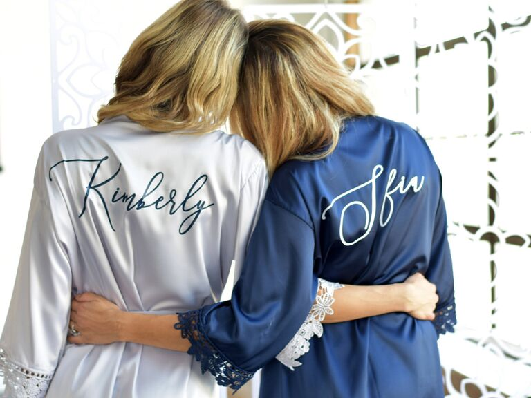 Blue bride and bridesmaid robes