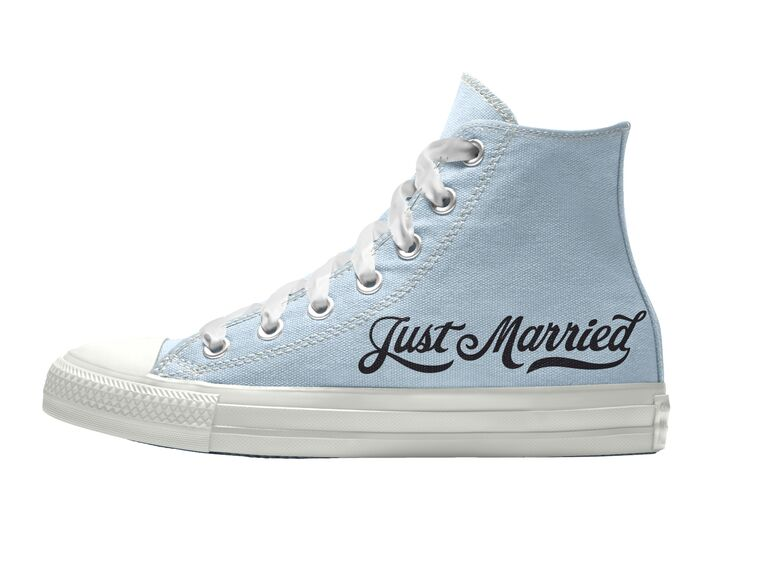 Light blue custom wedding converse with Just Married in black