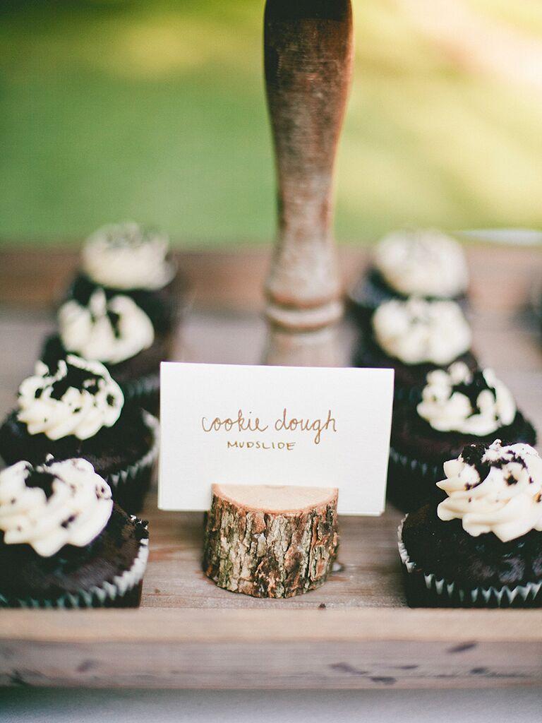 Cupcake dessert station for a wedding reception
