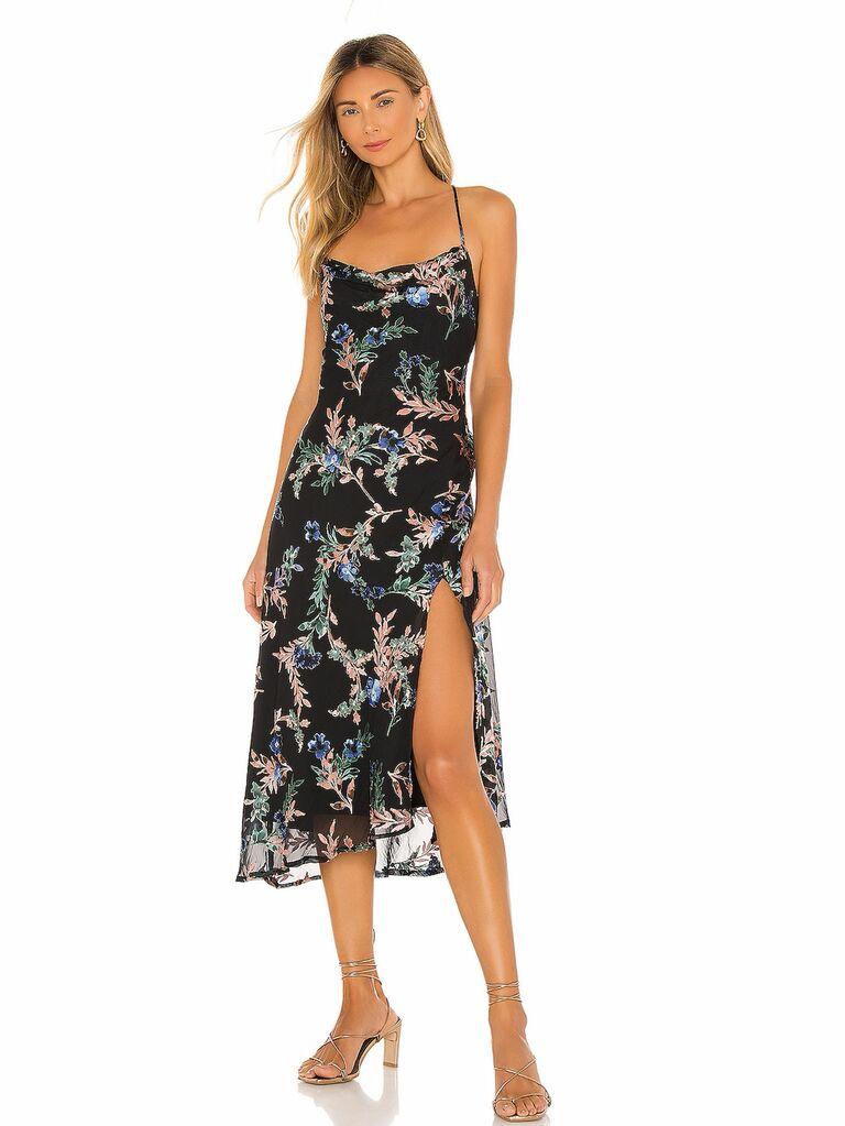 satin floral slip dress with high slit