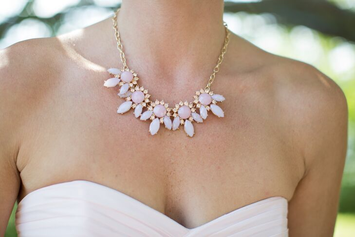Katie gifted each of the girls a pink statement necklace to wear with their blush chiffon dresses.