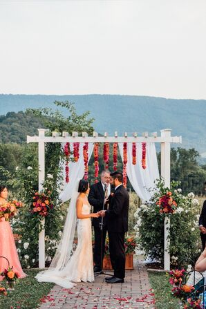 Interfaith Couple at Colorful Christian Ceremony