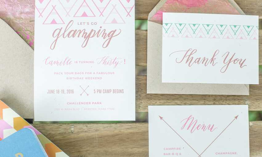 Glamping party themed inspiration and ideas
