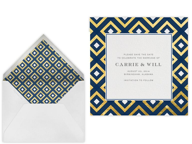 Jonathan Adler modern gold foil save-the-date design