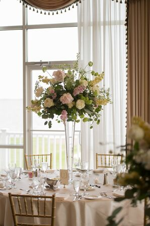 Tall Blush and Ivory Garden Centerpieces