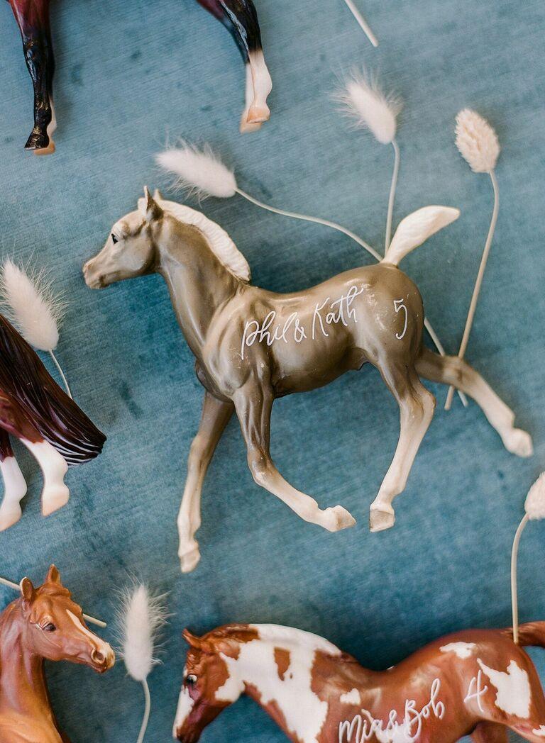 Calligraphed model horse escort cards