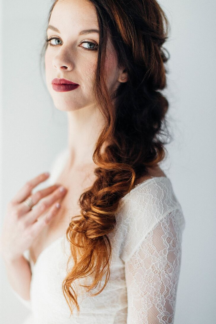 Red-Haired Bride with Loose Fish Tail Braid