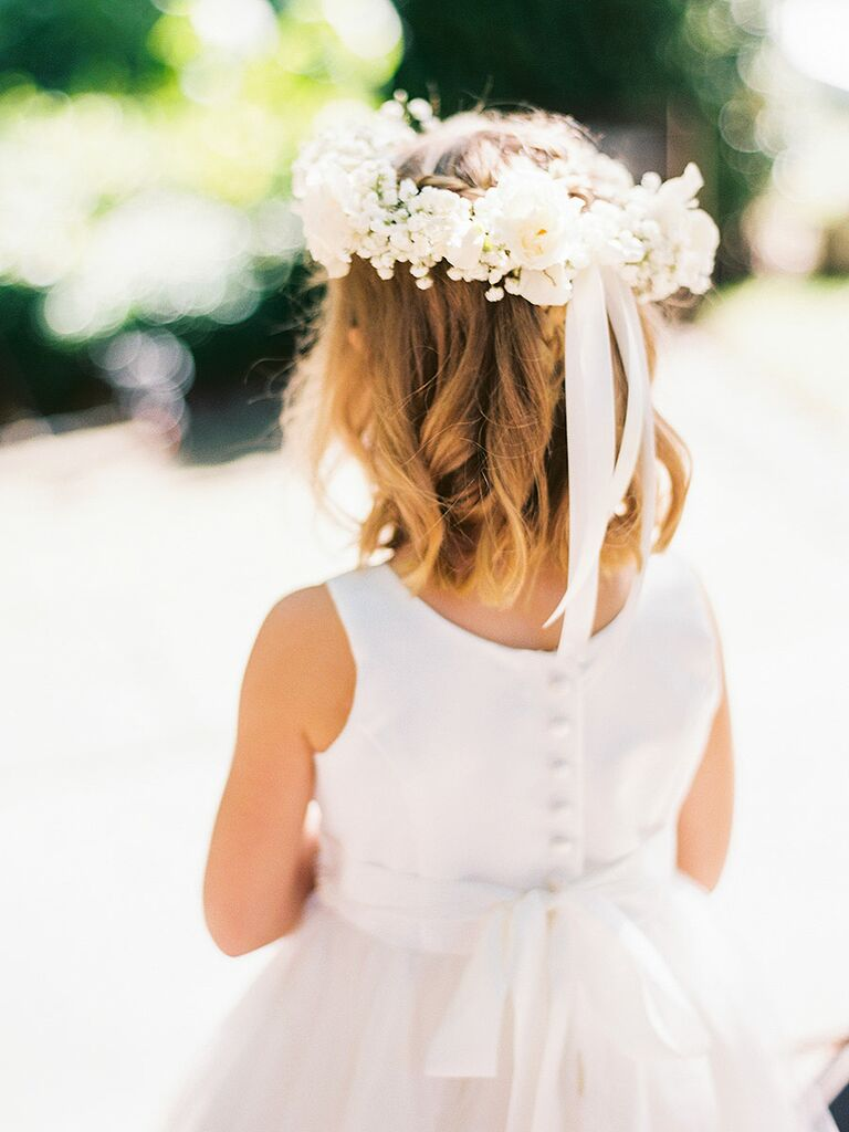 Short  hairstyle for flower girls with wreath