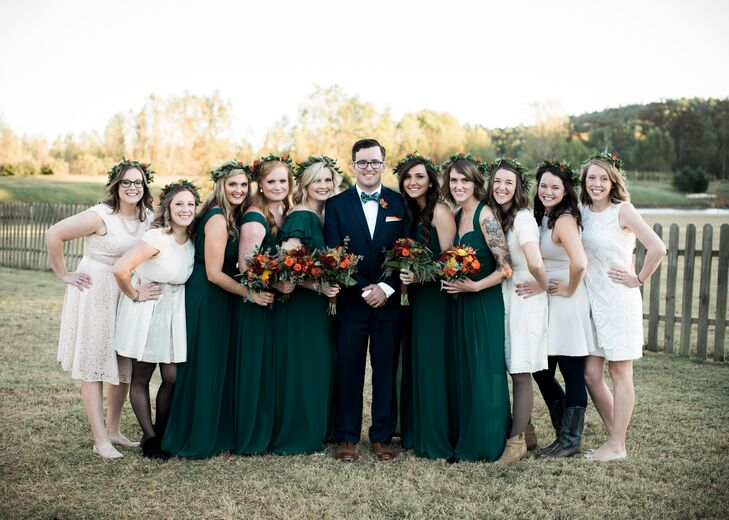 "The bridesmaids wore dark green dresses, the groomsmen wore custom blue suits, and the house party (a Southern tradition) wore cream or white. ""I wanted the house party to stand out, so I asked them to wear cream, because I knew that other people probably wouldn't be wearing cream or white to a wedding."" The house party is just as much a part of the wedding as the bridesmaids, only they don't stand up for the couple during the ceremony. (They typically sit in the front with the couple's family.)"