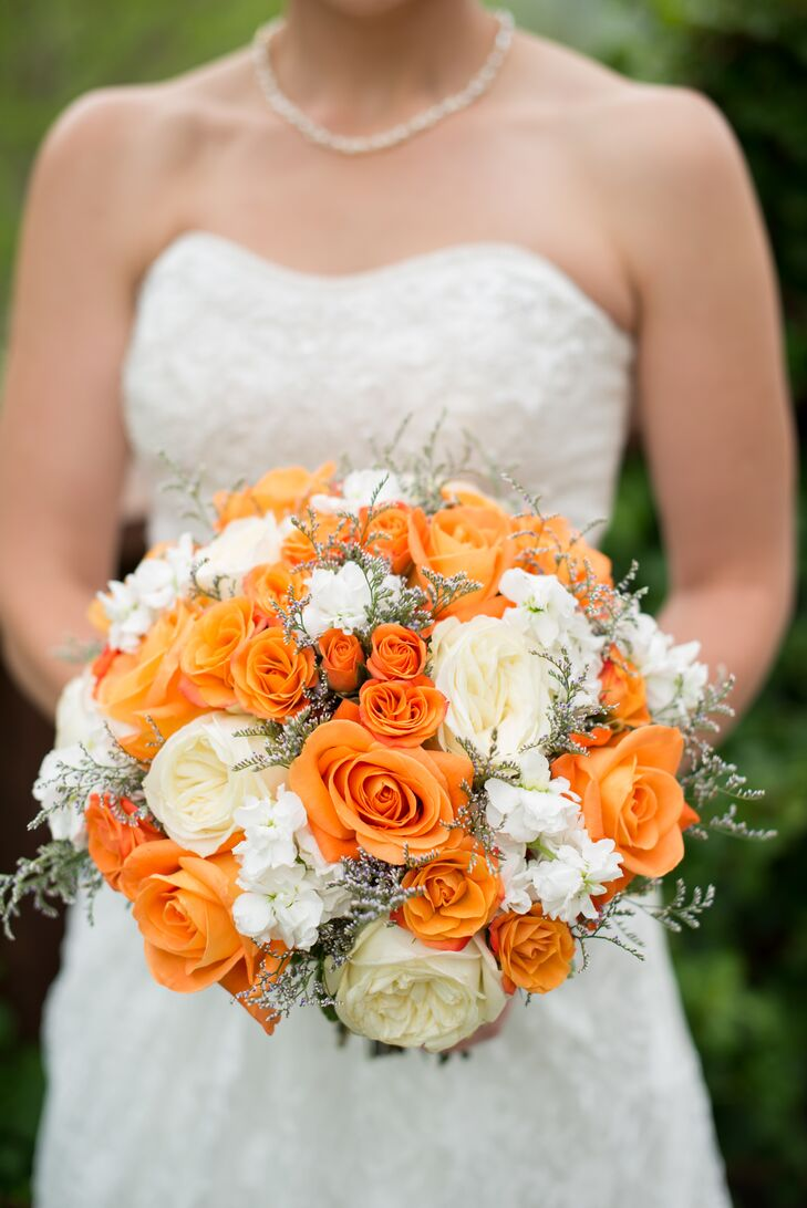 Orange And White Bouquet With Roses And Peonies