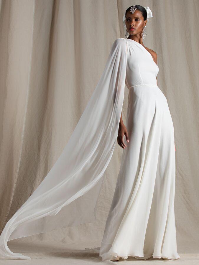 Naeem Khan one-shoulder A-line wedding dress